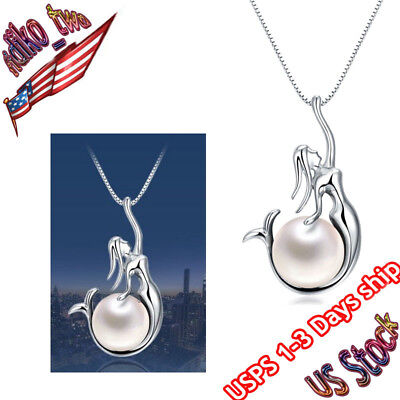 "925 Sterling Silver Freshwater Pearl Mermaid Pendant 18"" Chain Handmade Necklace"