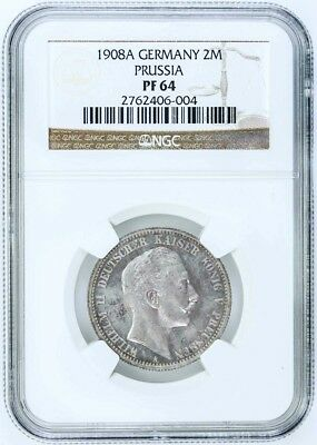 Ngc Pf64 Proof Germany Prussia 1908 2 Mark-Nice Coin-$450 Value-$1 Start-No Rese