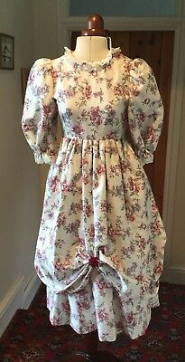 GIRL'S VINTAGE 1980's VICTORIAN STYLE FLORAL BRIDESMAID/PARTY DRESS