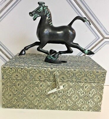 Hand crafted Bronze Vintage Chinese Dynasty Trampling Horse figure in silk box