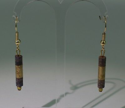 2 X Ancient Carved Lapis Lazuli And Gold Bead Earrings - No Reserve 0211
