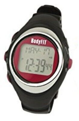 BodyFit Pulse Monitor Watch Black Red Unisex Fitness Running Health