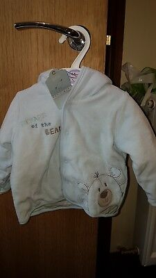 Beware of the bear 3-6 months soft baby jacket M&S NEW  hooded light blue