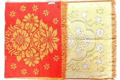 LOT of 2 Vintage ST MARY'S Floral Bath Towel Retro 60s 70s Yellow Orange Fringe