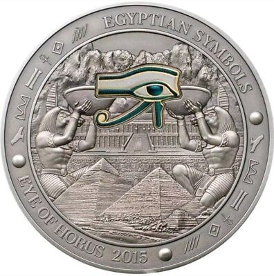 2015 Palau $20 EGYPTIANS SYMBOLS, EYE OF HORUS 3 Oz Silver Coin.