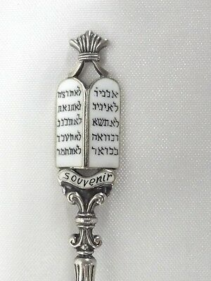 Sterling Silver Souvenir Spoon Enameled Ten Commandments in Hebrew .45ozt