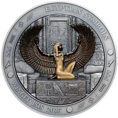 2016 Palau $20 WINGED ISIS EGYPTIAN SYMBOLS 3 Oz Silver Coin.