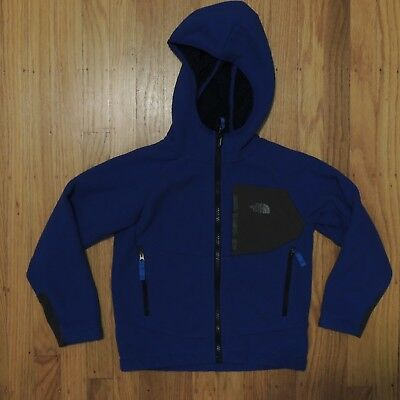 The North Face Zip Up Fleece Jacket Blue Gray Youth Boys Hooded Size XS 6