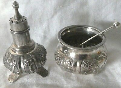 Antique WH 90 Silver Salt Cellar and Pepper Shaker Set w Sterling Silver Spoon
