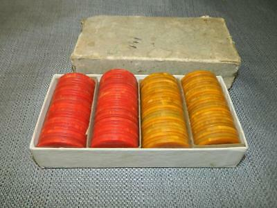 VINTAGE Box of 100 Catalin Poker Chips, BAKELITE