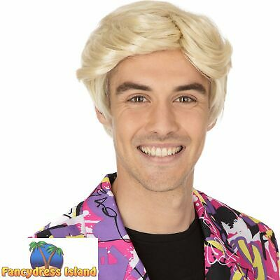1970's RETRO POP STAR BLONDE TONY WIG Adults Mens Fancy Dress Costume Accessory