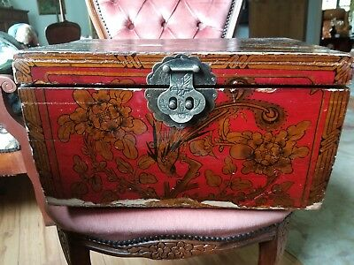 Chinese Antique Painted Wooden Linen Chest
