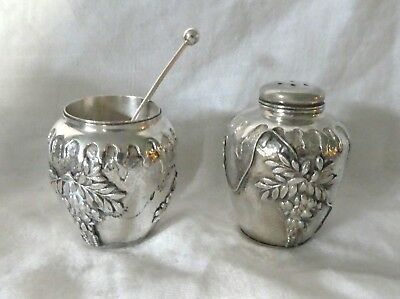 Antique Asian Silver Salt Cellar and Pepper Shaker Set w Sterling Silver Spoon