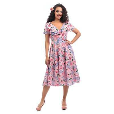 716f257cc67e Collectif Vintage Maria Country Garden Swing Dress Sz 8-22 1950s Pink Floral