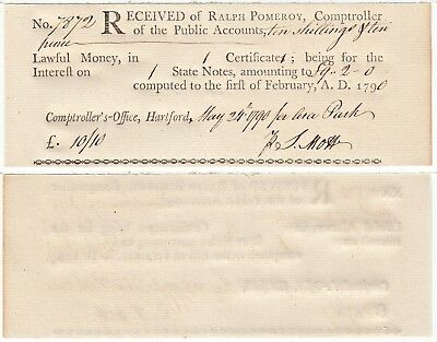 1790 Connecticut Comptroller's Office Script For 10 Shillings 10 Pence