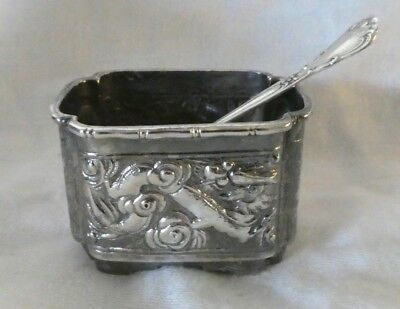 Antique HC 90 Silver Salt Cellar with Sterling Silver Spoon- Asian