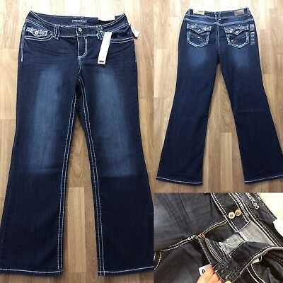 76253150ee Maurices Bootcut Jeans Womens Size 11/12 Short 33x31 Flap Pockets Bling :)