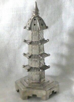Antique 90 Silver Pagoda Salt or Pepper Shaker- Asian