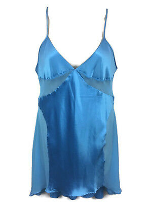 Victoria's Secret Blue Satin Babydoll Chemise Night Gown Sheer Inlay Sz Large