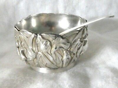 Antique 90 Silver Salt Cellar with Sterling Silver Spoon- Asian