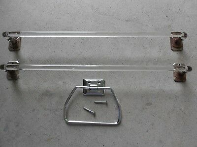 "Vintage Mid Century Matched PAIR 18"" CHROME AND BENT GLASS Towel Bars/Towel Ring"