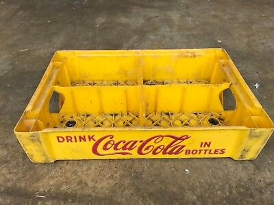 Vintage Coca Cola Plastic Yellow & Red Crate Case, Great Color