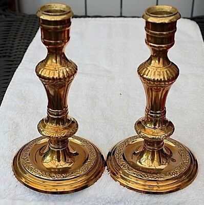 A Pair Of Handsome Brass Candlesticks c Late 19th -Early 20th Century
