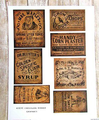 Primitive Medicine Labels, Vintage Apothecary Sticker Sheet, Country Pantry
