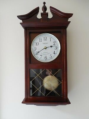 Vtg. Constant, Wooden Cased Wall Clock, Pendulum, Westminster Chime, Quartz Move