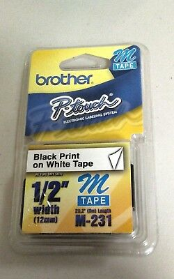 """NEW Brother M231 P-Touch Label Tape, 1/2"""" Black on White M Series M-231"""
