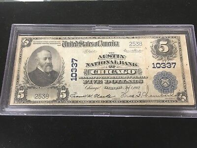 1902 Large Size National $5 The Austin National Bank of Chicago, Illinois