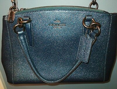 837a9053f NWT Coach 23337 mini Christie Carryall Crossgrain Leather Metallic Dark Teal