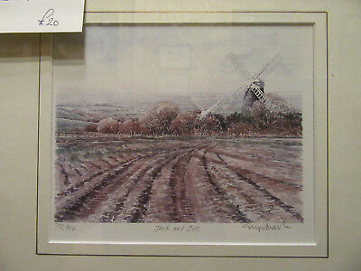Limited Edition framed print 'Jack and Jill' Windmills in Sussex