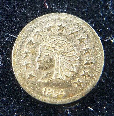 1854 California Gold 1/2 Fraction Currency