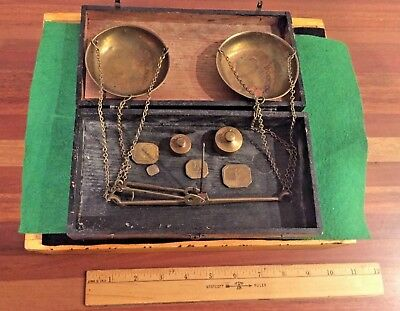 Vintage Brass Assay Scale Equipment w/ wooden box
