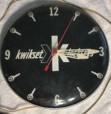 Vintage Kwikset Locksets Key Advertising Clock For Repair