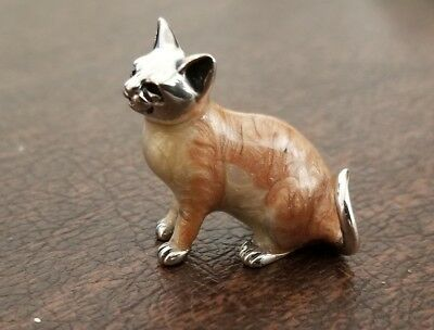 Sterling silver & hand enameled medium Saturno Cat figurine from Italy
