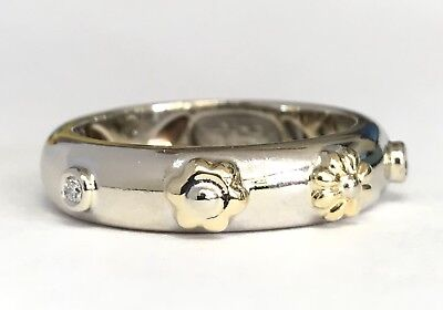 Chimento Italian 18k Two Tone Gold & Diamond Floral Size 7 Ring 6.1 Grams #K14