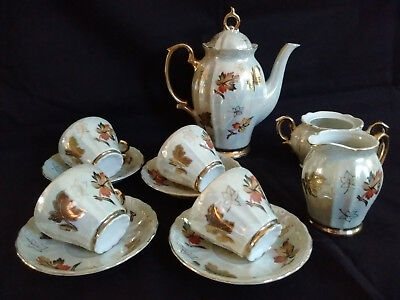 Antique Nippon Lusterware Coffee Tea Set Hand Painted Autumn Leaves Gold Moriage