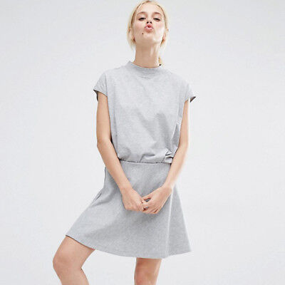 Women's Simple Round Neck Short Sleeve A-Shaped Casual Sports Fashion Skirt Suit