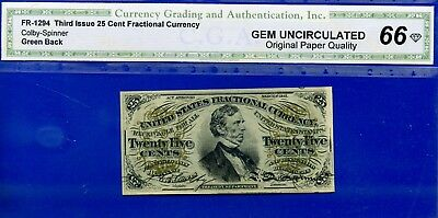 FR-1294 Third Issue 25 Cent ** Gem-UNC-Plus ** FRACTIONAL (( Green Back ))