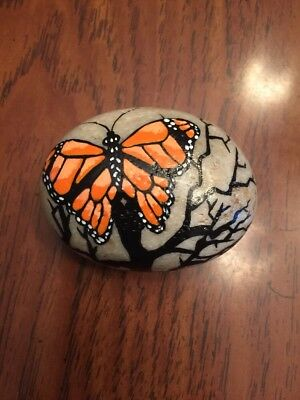 Orange Butterfly Hand Painted Imperial River Rock Stone Art Nature Garden
