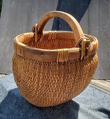 Large Vintage Antique Chinese Woven Willow Rice Basket Old, Fabulous Workmanship