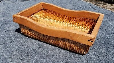 Great Large Antique Rectangle Chinese Willow Carrying Vintage Basket Wood Sides