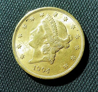 NR! ~ 1904 US $20 Double Eagle Gold Liberty Coin ~ NR!