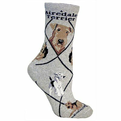 Airedale Terrier Dog Breed Gray Lightweight Stretch Cotton Adult Socks