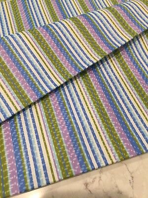 """Vintage Blue Lavender Green Stripes with Dots Fabric * 36""""w x 2 yds 31"""""""
