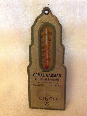 Early Linco Gas, Oil, And Accessories Advertising Thermometer - Claypool, In.