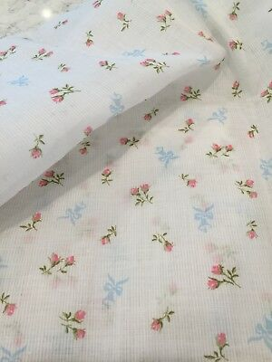 """Vintage * Semi Sheer Ribbed Stiff Dimity Style * Pink Roses Fabric 35"""" wide"""