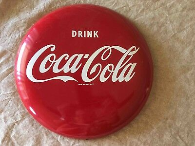"Old Coca-Cola Soda 12"" Button Sign with Mounting Bracket"